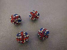 British Flag Rhinestone Spacer Beads 4pcs
