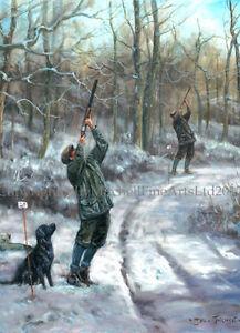 Black Labrador Shooting Christmas Cards pack of 10 by John Trickett. C516X