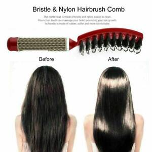 NEW Natural Boar Bristle Detangling Nylon Brush Large curved curly hair style u