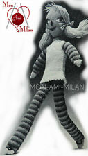 """Vintage 60s Knitting Pattern Copy MILLY MOD RAG DOLL with LONG LEGS Soft Toy 22"""""""