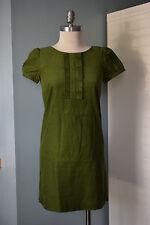 Ann Taylor LOFT size 0 green corduroy dress ruffle front