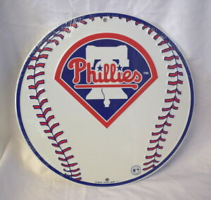 Philadelphia Phillies MLB Embossed Metal Round Sign Man Cave Wall Decor