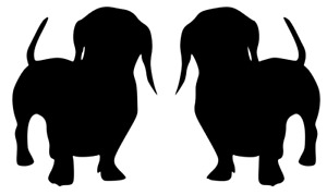 Dachshund Dogs, Two Dogs, Car, Van, Pickup Truck, Wall, Door, Decal Sticker!