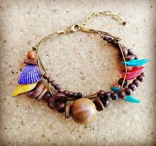 Natural Wood Beads & Coloured Shell Bracelet Handmade in India