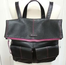 mywalit Leather Backpack Black Pink Outer Pockets Roomy Italy