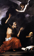 Stunning Oil painting Ribera - St Jerome and the Angel skull canvas hand painted