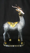 ANY DAY GIFT,  25cm, STANDING SIKA,  DESKTOP ORNAMENT, SILVER COLOUR, RESIN*