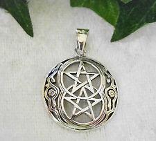 Pentagramm Anhänger Doppel Pentagramm 925 Silber Amulett Magie Kelten