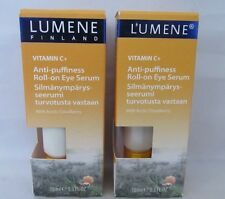 2 Pack LUMENE Vitamin C+ Anti Puffiness Roll On Eye Serum Arctic Cloudberry 10ml