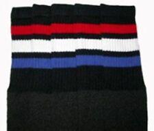 """22"""" KNEE HIGH BLACK tube socks w/ RED/WHITE/ROYAL BLUE stripes style 1 (22-117)"""