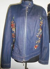 ESCADA Vintage Jacket Coat 12 42 Blue Jeans Denim Embroidered Flowers Yellow