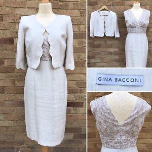 Gina Bacconi Dress Bolero Jacket UK 12 Cream 2-Pc Set Smart Work Office MOB