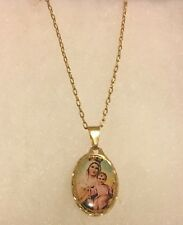"Our Lady of Mt. Carmel -Catholic Oval Medal Pendant - Goldfield- Free 17"" chain"