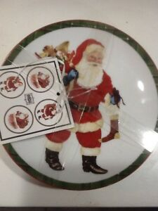 222Fifth Hello Santa Christmas Plaid Winter New 4 Appetizer  Dessert Plates