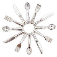 1:12 Miniatur 12 Stück Silber Besteck Messer Gabel Löffel Geschirr Puppenhaus