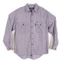 Vintage LEVI'S Mens Approx sz M Gray Stripe Long Sleeve Button Down Shirt