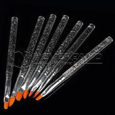 7x Nail Art Cristal Pinceaux Brosse Acrylique Transparent Ongle Peinture UV Gel