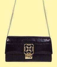 L.K.BENNETT Logo Dark Purple Leather Clutch Convertible to Cross Body Bag  $650