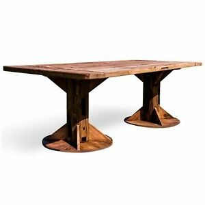 RECLAIMED PINE REFECTORY SOLID WOOD FARMHOUSE STYLE DINING TABLE SET/2 BENCHES