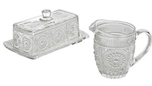 The Pioneer Woman 3Pc Butter and Creamer Set Adeline Glass Clear Embossed NEW