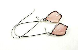 KENDRA SCOTT Carinne Rhodium Plated Rose Quartz Drop Earrings
