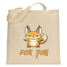 Fox You Reusable Tote Shopping Bag Birthday Holiday Funny Animal Print