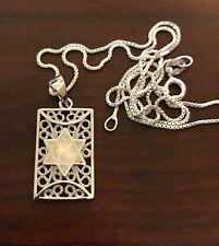 "Jewish Star Of David Pendant Sterling Silver With White Opal 18"" Silver Necklace"