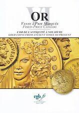 Catalogue de vente à prix marqués - CGB - Or 5-6 / Billets 73-74/ Modernes 27-60