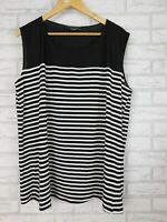 Basque Woman Top Sleeveless Sz 16 Black & white stripe