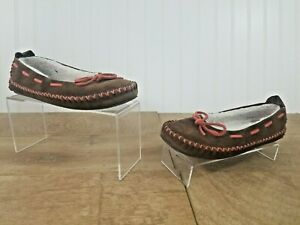 LL Bean Brown Leather Red Thread Indoor/Outdoor Sherpa Slippers Womens Sz 7 EUC!