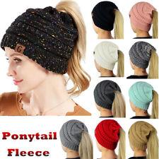 Womens Ponytail Beanie Tail Messy Bun Knitted Beanie Winter Fur Fleece Hat Lot