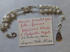ancien petit bracelet pour femme fille communion argent + 22 perles en nacre