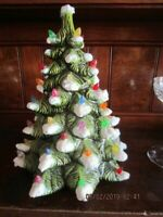 "Vintage 10"" Ceramic Christmas Tree with Multi Colored Lights  NO BASE!"
