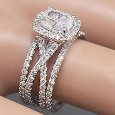 14K White Gold Cushion Forever One Moissanite Diamond Egagement Ring Bands 2.65c