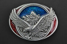 EAGLE BLUE & RED BELT BUCKLE METAL AMERICAN