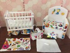 Barbie baby Nursery Set Furniture ,crib ,sofa ,carrier. Shopkins