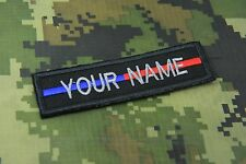 """CUSTOM NAME TEXT THIN BLUE LINE RED LINE POLICE SEW ON PATCH 4 X 1""""  P126"""