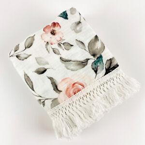 Baby Boho Fringe Wrap - Organic Cotton Muslin Swaddle - Light blanket - Floral
