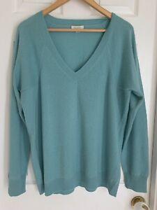 Garnet Hill 100% Cashmere Pullover Sweater Blue XL
