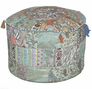 """22"""" Round Patch Work Embroidered Ottoman Pouf, Indien Round Ottoman Stool Cover"""
