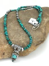 "Navajo Native American SW Turquoise Sterling Silver Necklace 20"" Pendant 4350"