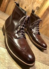 Men's THURSDAY BOOT CO. Brown Leather Wingtip Brogue Boots Size US 9.5