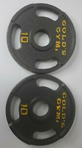 """Two (2) 10 Lb Golds Gym 2"""" Olympic Grip Weight Plates-  Set Of 2 - 20 lb Total"""
