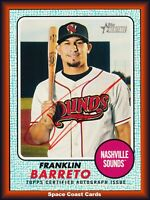 2017 Topps Heritage Minors Franklin Barreto AUTO #'d /75 Real One Blue SP RC A's