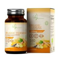 Supplément de Curcuma Bio 1500 mg   Avec Gingembre & Poivre Noir   180 capsules
