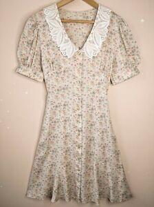 90s Vintage Floral Dress 12 Viscose Summer Lace Collar 40s Grunge Cottagecore
