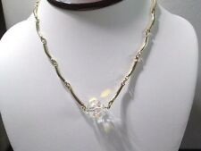 "SARAH COVENTRY NECKLACE ""ELBOW"" SHAPE TUBES CRYSTAL PENDANT VINTAGE DESIGNER"