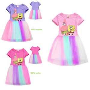 Sponge Bob Kids Girls Rainbow Tulle Dresses Cartoons Rainbow dress Pleated Skirt