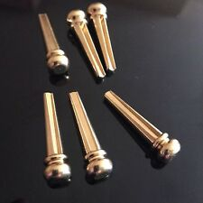6x Gold Brass Bridge Pins for Electro/Acoustic Guitar Parts Strings High Quality