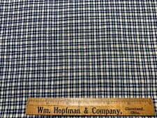 Antique Vintage Cotton Fabric Late 1800s Blue&White Homespun 26w 1/2yd